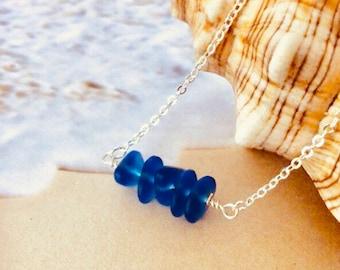 Sea Glass Necklace Cobalt Blue Sterling Silver Gold Filled