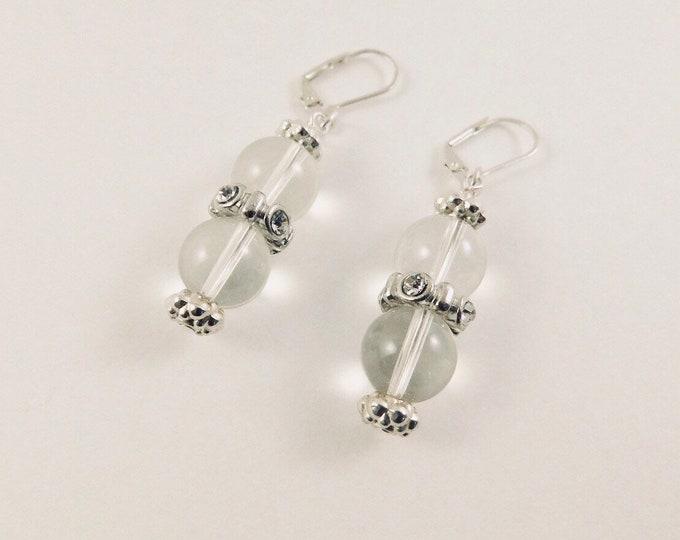 silver earrings, clear glass beaded silver bridal earrings, bridesmaids dangle earrings, studded drop wedding earrings