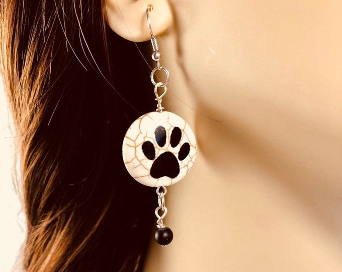Dog paw earrings