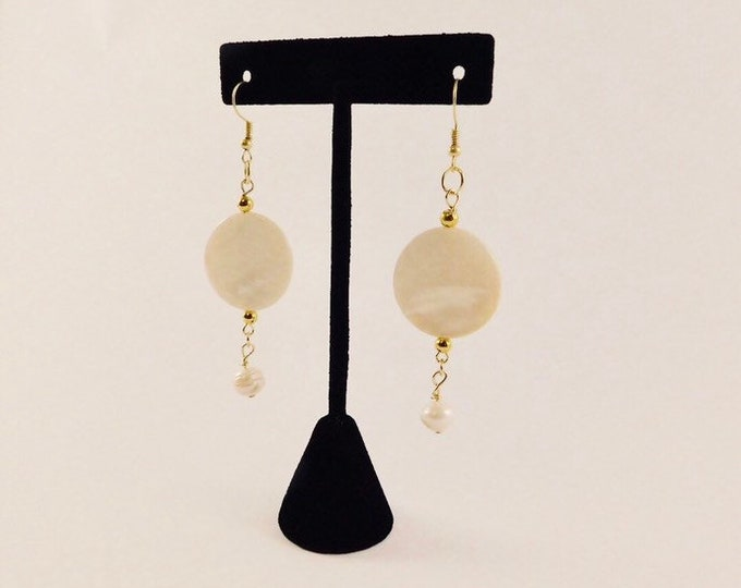 Pearl Earrings, Gold Filled, Freshwater Pearl Shell Gold Earrings, Bridal White Shell Earrings, beach wedding, gift for bridesmaid