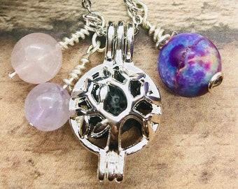 Essential Oil Diffuser Necklace, Aromatherapy Silver Jewelry, Stone Holder Locket, Amethyst, Rose Quartz, Jasper, Tree of Life