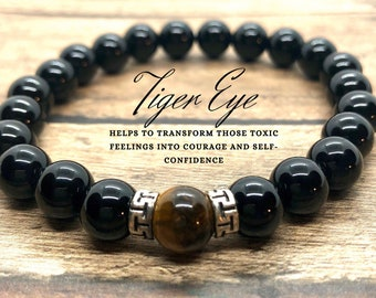 Genuine Tiger Eye Bracelet, Black Onyx Bracelet, 7 Chakra Energy Bracelet, Power Protection Bracelet, Men Women, Yoga Meditation Bracelet