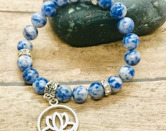 Sodalite Bracelet, Third Eye Chakra Healing Yoga Jewelry 8mm Beads