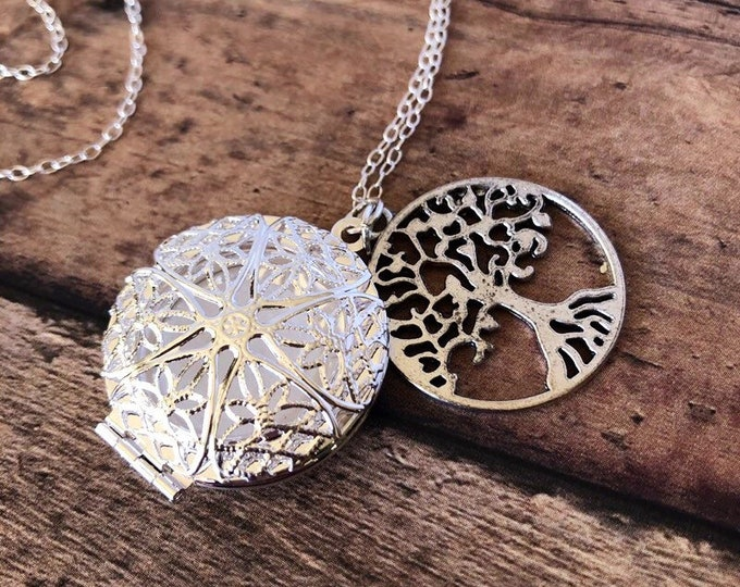 Essential Oil Diffuser Necklace Tree of Life Charm