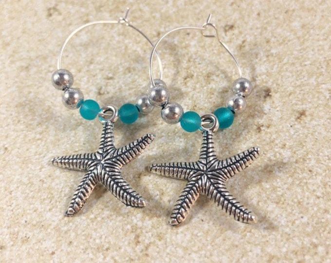 Sea Glass Earrings, Sea Glass Silver Earrings, Starfish Charm Beach Glass Sterling Silver Hoops, Tropical Blue Sea Glass Hoop Earrings