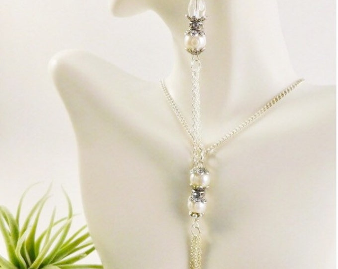 Pearl Silver Dangle Earrings and Tassel Necklace