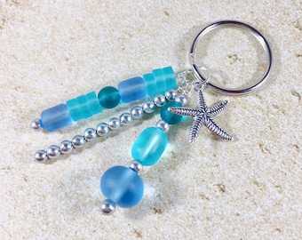 Sea Glass Keychain Necklace Blue Beaded Beach Glass