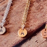 Initial Necklace, Gold Filled, Rose Gold Filled, Sterling Silver, Personalized Necklace, Simple Disc Customized Hand Stamped Jewelry