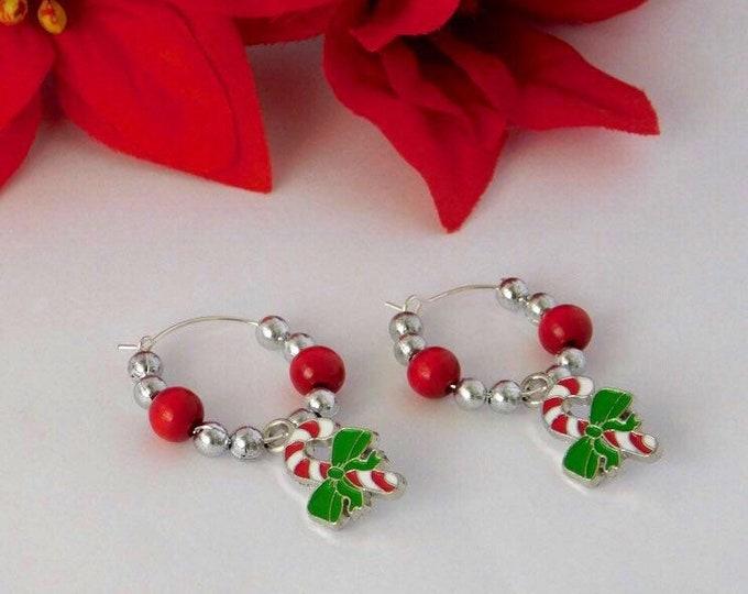 Candy cane charm silver hoop earrings
