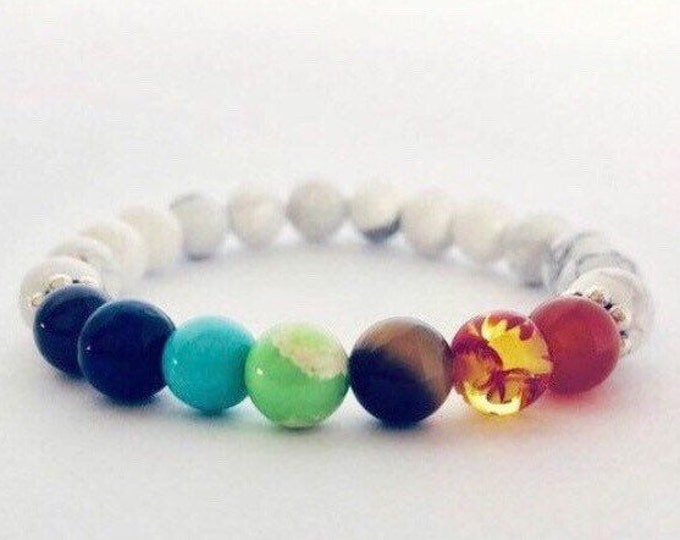 Featured listing image: Chakras Yoga Bracelet White Howlite
