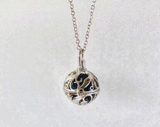 Featured listing image: Stone Holder Necklace, Sterling Silver, Silver Plated Chain, Aromatherapy Locket