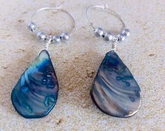 Abalone Earrings Sterling Silver