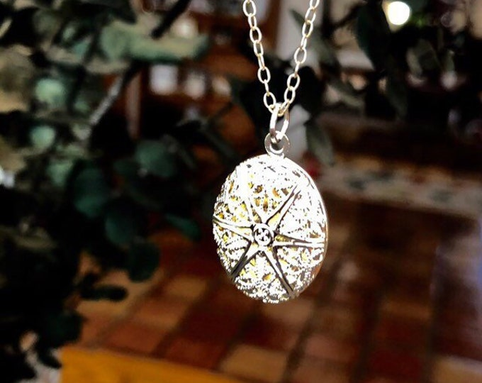 Diffuser Necklace Aromatherapy Jewelry Sterling Silver or Silver Plated Chain Essential Oils Silver Plated Oval Locket