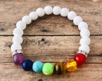 7 Chakra Bracelet Diffuser White Lava Bracelet