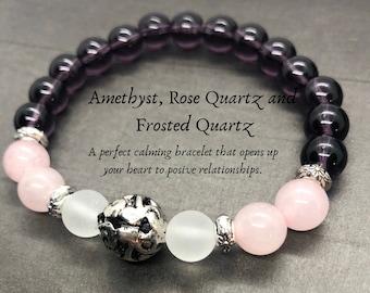 Amethyst Bracelet, Rose Quartz Healing Bracelet, Gemstone Calming Bracelet, Anxiety Aid Yoga Bracelet, Meditation Wrist Mala, 8mm Beads