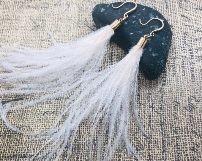 Real Feather Long Tassel Earrings, Gold Plated, Gold Filled, Ostrich Feathers