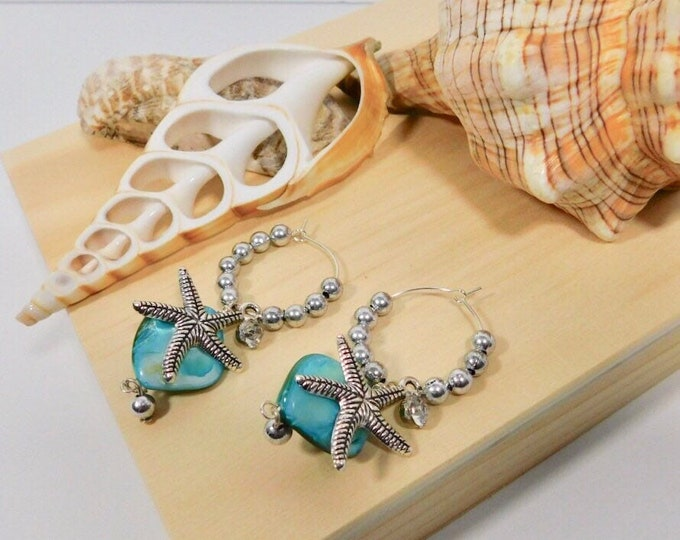 Abalone Earrings, silver plated