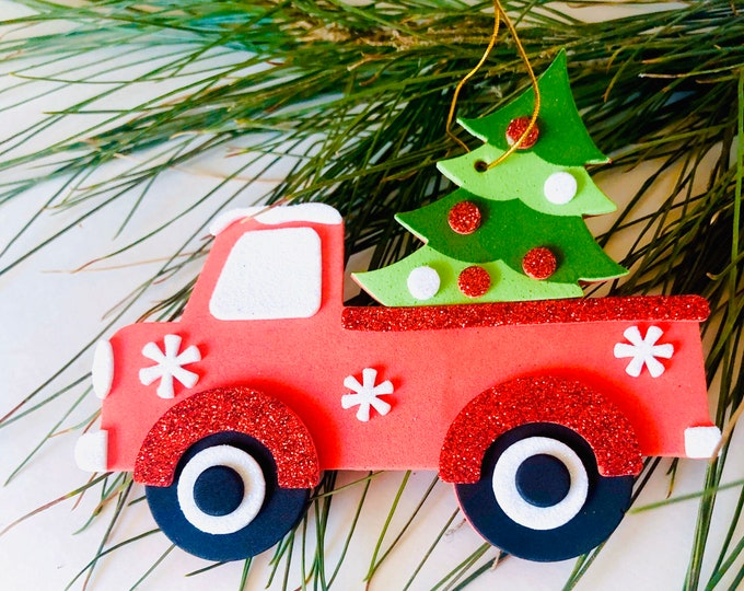 Christmas Ornament, Red Truck Christmas Tree Ornaments, Holiday Decorations, Country Christmas, Rustic Holiday Decor, Farmhouse Holidays