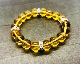 Citrine Bracelet, Gemstone Beaded Bracelet