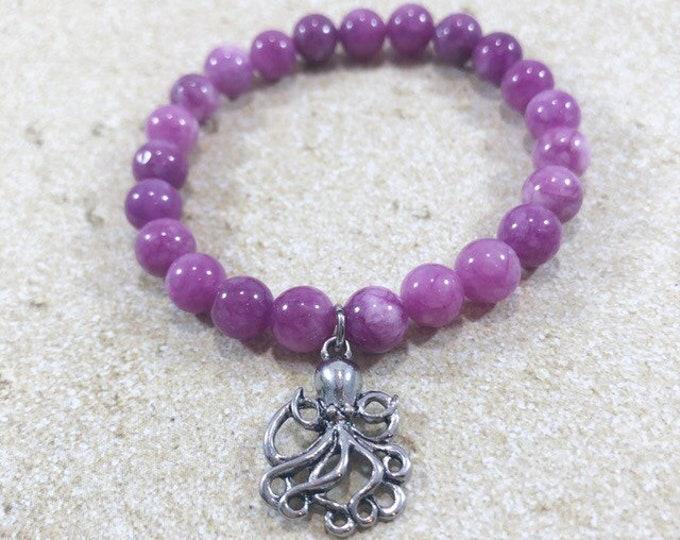 Crystal Gemstone Bracelet, Purple Jade Stretch Bracelet, Fertility, Well Being Yoga Jewelry, Stretch Wrist Mala, Choice of Charm