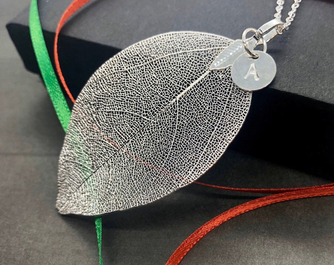 Real Leaf Initial Necklace, Sterling Silver Natural Silver Dipped Leaf Pendant Long Necklace, Large Leaf Personalized Necklace