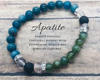 Weight Loss Support Bracelet, Green and Blue Apatite Bracelet, Diffuser Bracelet