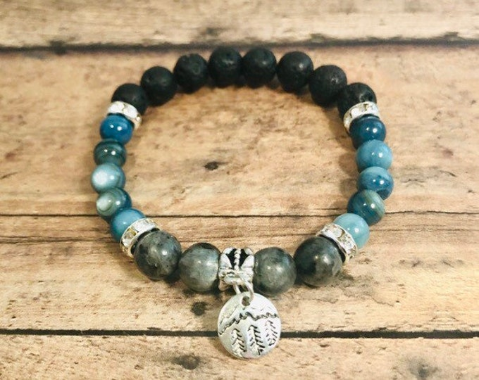 Beaded Bracelet, Labradorite, River Shell, Crystal Healing Bracelet, Mountain Bracelet, Yoga Jewelry, Lava Stone Diffuser Bracelet