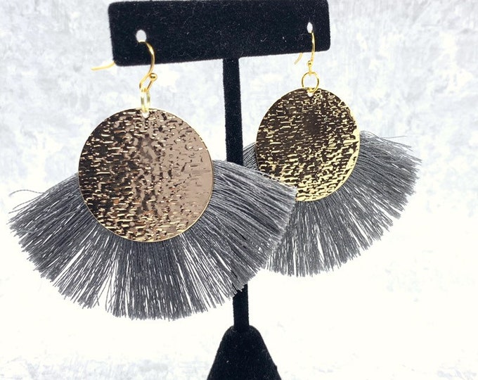 Tassel Gold Earrings, Grey Fringed Dangle Earrings, Gold Hammered Medallion Earrings, Large Grey Colored Light Drop Earrings