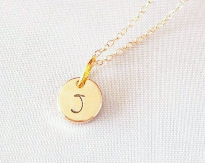 Tiny Gold Disc Initial Necklace, Dainty Hand Stamped Tag