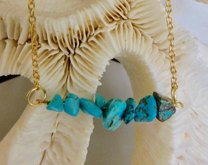 Turquoise raw stone necklace