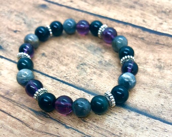 Anxiety Bracelet, Amethyst Bracelet, Labradorite Calming Yoga Bracelet, Black Tourmaline Anti-anxiety Healing Meditation Bracelet