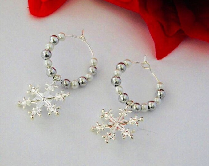 Silver snowflake pearl hoop earrings