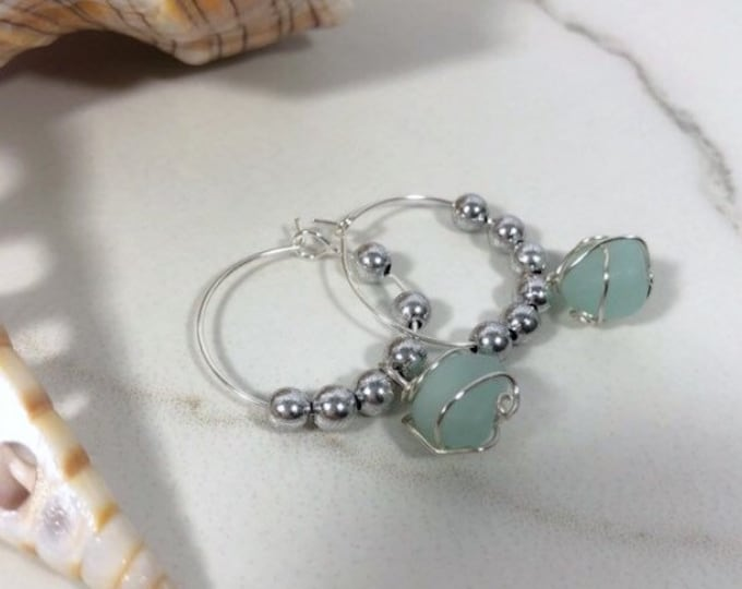 Sea Glass Sterling Silver Hoop Earrings