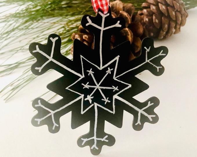 Snowflake Ornament Wood Christmas Ornament Handmade Farmhouse Decor Rustic Decoration Country Holiday Decor