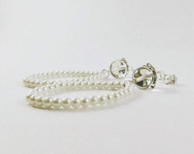 Pearl earrings, studded pearl drop earrings, bridal pearl dangle earrings silver