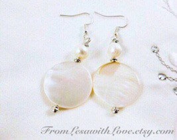 White Shell Dangle Earrings with Pearls