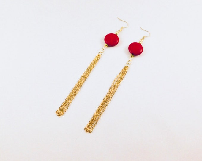 Red dangle Howlite earrings with gold tassels