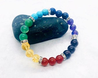 Chakra Bracelet with Meaning Card, 7 Chakra Bracelet, Healing Crystals Jewelry