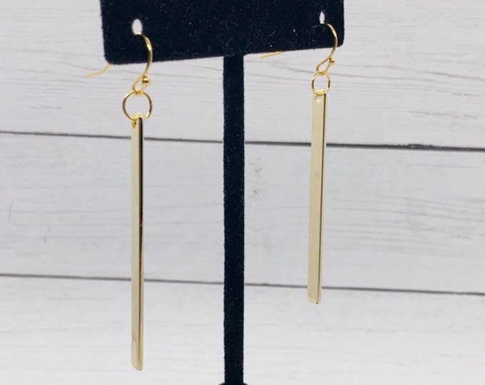Vertical Bar Earrings, Gold Plated, Gold Filled, Rectangular Bar Gold Dangle Earrings, Minimalist Gold Bridal Earrings, Gift for Bridesmaids
