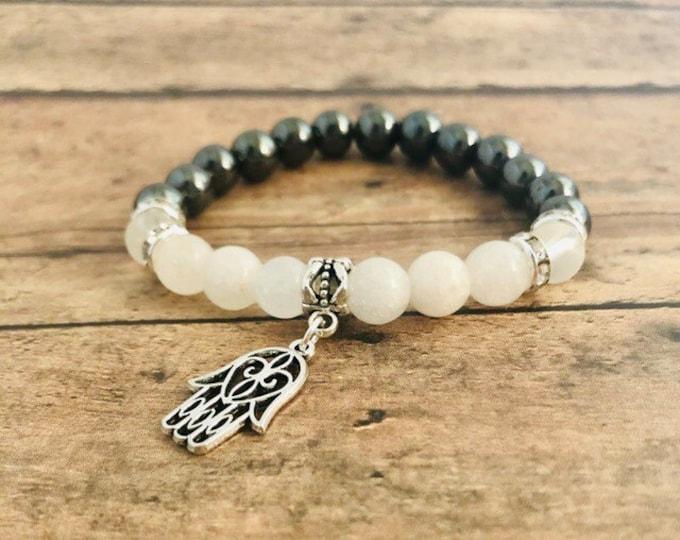 Anti-toxin Bracelet Hematite Bracelet Hamsa Hand Bracelet Spiritual Healing Yoga Jewelry White Jade Frosted Quartz Wrist Mala