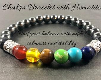 Chakra Bracelet Men Hermatite Gift for Him