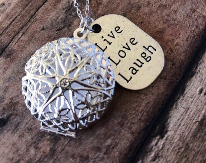 Essential Oil Diffuser Necklace Live Laugh Love Charm