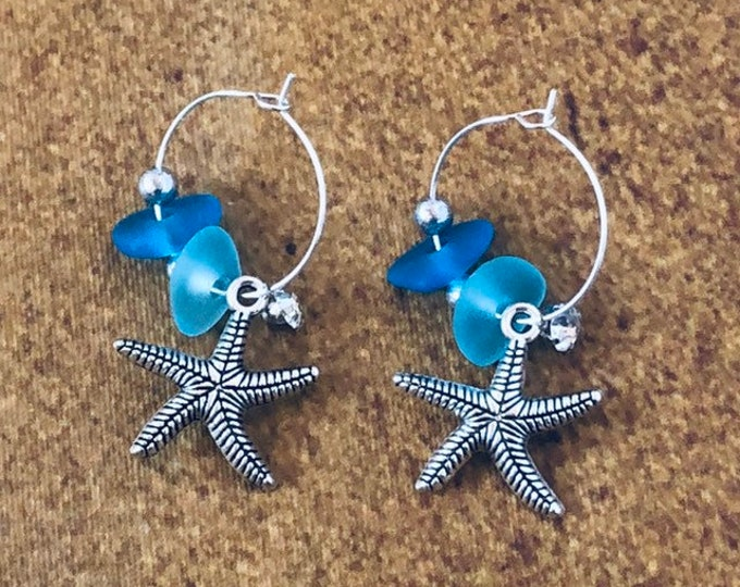 Aqua Blue Sea Glass Silver Hoop Earrings