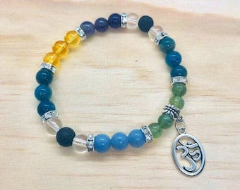 Weight Loss Bracelet, Green Apatite, Blue Apatite, Citrine, Amethyst Bracelet Weight Loss Support