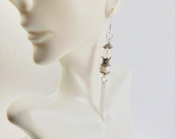 Pearl Earrings, Sterling Silver, White Bridal Tassel Earrings