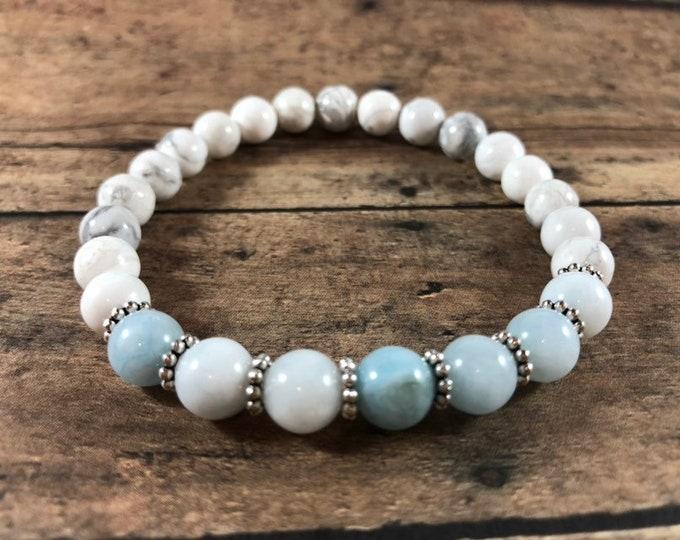 Aquamarine Bracelet White Howlite Healing Bracelet 8mm Beads