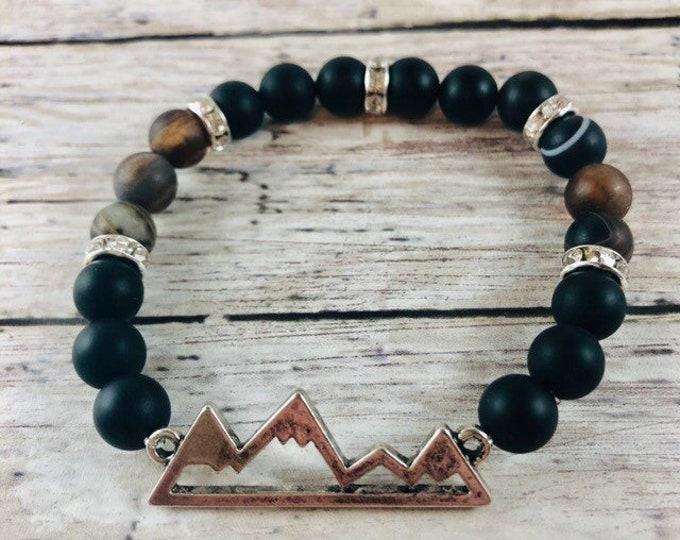 Men's Beaded Black Onyx and Silver Metal Bracelet