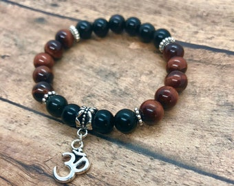 Red Tiger Eye Bracelet, Black Onyx Bracelet, 7 Chakra Energy Bracelet, Power Protection Bracelet, Men, Women, Yoga Meditation Bracelet