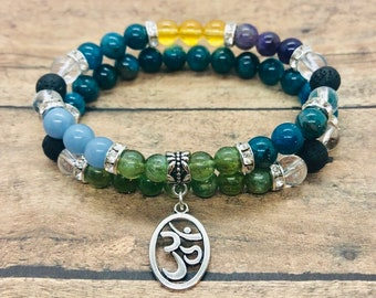 Weight Loss Bracelets, Green and Blue Apatite Bracelets, Weight Support Bracelet