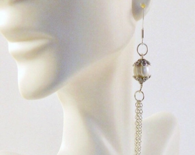 Freshwater Pearl Earrings sterling silver, Vintage tassel Bridal Earrings